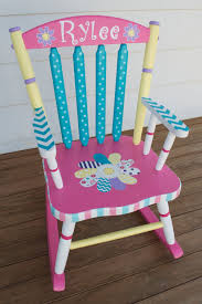 hand painted whimsical personalized child rocking chair by hughese 215 00