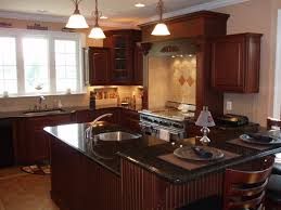 Kitchen Island With Granite Countertop Yorktowne Avondale Cherry Sorrel Cabinets Uba Tuba Granite