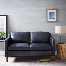 Gray Leather Sofa And Loveseat Hamilton Leather Loveseat 56 West Elm