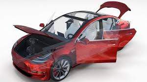 tesla model 3 red with interior and chassis 3d model obj fbx stl