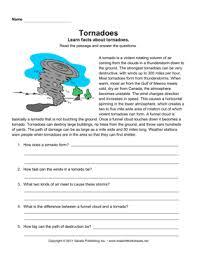 tornadoes comprehension u2014 instant worksheets