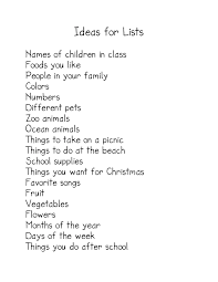 paper for writing making lists kindergarten nana we