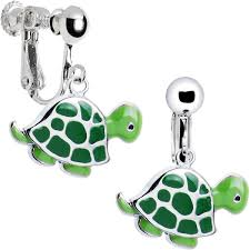 amazon com cute turtle clip earrings clip on earrings for kids