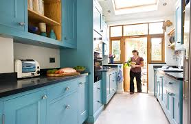 Kitchen Designs Galley - galley kitchen designs with light blue cabinets color advantages