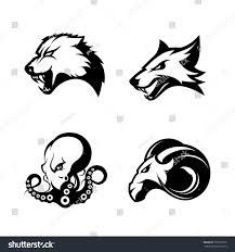 furious wolf fox ram octopus sport stock vector 706799776