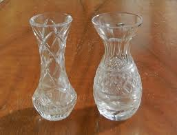 Antique Lead Crystal Vase 2 Gorgeous Edwardian Cut Lead Crystal Glass Miniature Vases