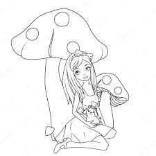 coloring book alice front mushroom holding rabbit wearing