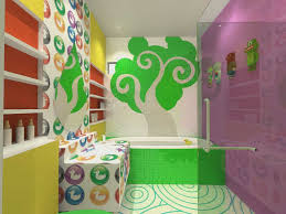 rubber duck ornaments curtain and towel dor kids bathroom ideas ideas kids bathroom with natural theme colorful patterned wall spiral floor