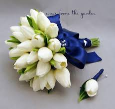 Tulip Bouquets Real Touch Tulips Bridal Bouquet White Navy Blue Ribbon Groom
