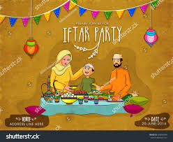 Invitation Card For Get Together Happy Muslim Family Enjoying Delicious Food Stock Vector 429646969