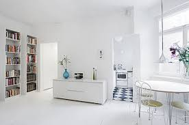 white home decor minimalist white kitchen ideas with rounded dining table sets in
