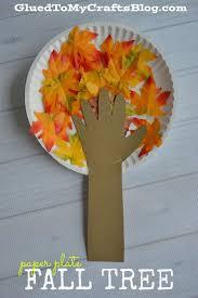 Fun Fall Kids Crafts - paper plate fall tree kid craft fall trees construction paper