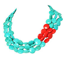 turquoise stone necklace amazon com jane stone chunky turquoise necklace fashion evening