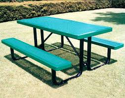 Cheap Picnic Benches 46 Square Expanded Metal Picnic Table W Backed Benches Free Metal