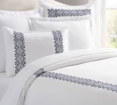 cross stitch embroidered duvet cover u0026 sham pottery barn