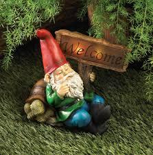 whimsical garden gnome solar statue