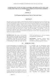cbr engineering comparative study of the california bearing ratio test and