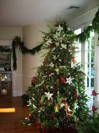 warm most beautiful christmas trees full with light and ornamets