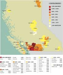map of bc map which b c cities are growing fastest bcbusiness