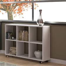 manhattan comfort salvador 6 shelf white bookcase with cubbies