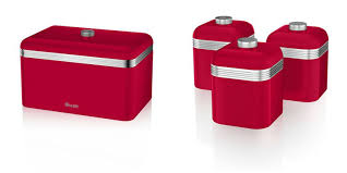 swan kitchen accessories retro set retro red bread bin breadbin