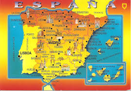 Spain Map World by My Postcard Page Spain Map