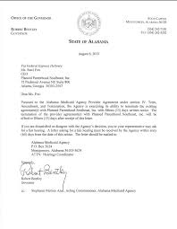 Notice Of Termination Agreement by Alabama Governor Terminates State U0027s Medicaid Agreement With