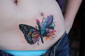 realistic butterfly tattoo on stomach photo 6 2017 real photo