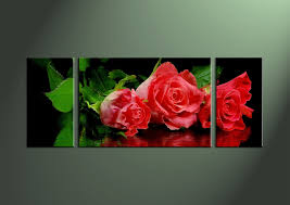 home decor flower 3 piece red rose canvas wall art