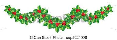 stock illustration of christmas holly garland for your design