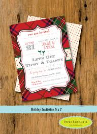 christmas cookie party invitations plaid tipsy u0026 toasty holiday party invitations christmas