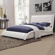 Tufted Bed Queen Coaster Contemporary Tully White Black Leather Like Vinyl