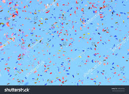 color paper colored confetti flying blue sky small stock photo 138587036