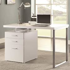Computer Desk With File Cabinet Modern Design Home Office White Writing Computer Desk With
