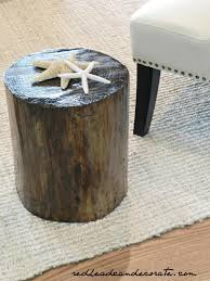 How To Make A Tree Stump End Table by Stump Table Winter Beach Lodge Living Room Part 3 Redhead Can