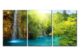 waterfalls decoration home amazon com waterfall sunrise blue lake canvas print wall art