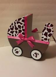 carriage centerpiece brown giraffe whot pink ribbon baby carriage table centerpiece