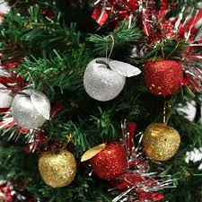 6pcs christmas tree glitter apple baubles ornament xmas party