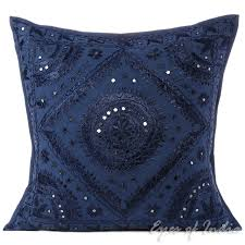 Blue Mirror Embroidered Sofa Decorative Throw Pillow Bohemian