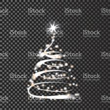 silver christmas tree on transparent background vector eps10