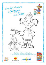 pip ahoy colouring pages activity sheet printables