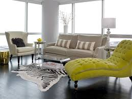 Chaise Lounge Chairs For Living Room Tufted Chaise Lounge Chair In Neon Yellow Color In A Living Room