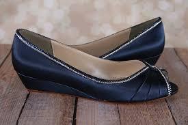 wedding shoes wedges navy blue kitten heel wedge wedding shoe wedges with trim