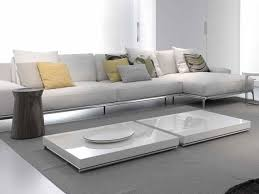 outstanding square shape double white low coffee table for living