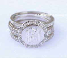 monogramed rings monogram ring sterling silver with rope trim more monograms
