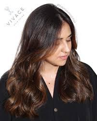 brunette balayage highlights chocolate sunkissed tone vivace salon