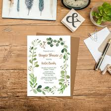 green foliage diaper shower invitation printable greenery baby