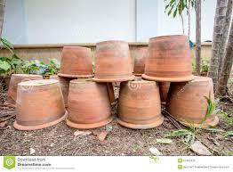group of empty terracotta pots stock photo image 57405435