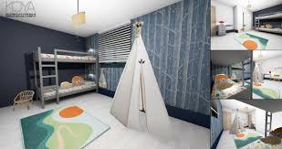 chambre à theme avec chambre enfant avec décoration sur le thème de la nature et de l