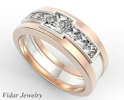 two tone wedding bands two tone gold mens wedding band with 1 40 ct princess cut diamonds